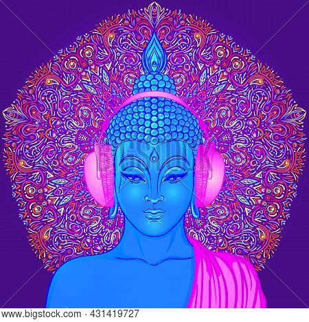 Buddha Over Colorful Neon Background. Vector Illustration. Psychedelic Mushroom Composition. Indian,