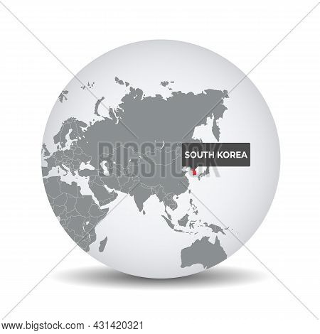 World Globe Map With The Identication Of South Korea. Map Of South Korea. South Korea On Grey Politi