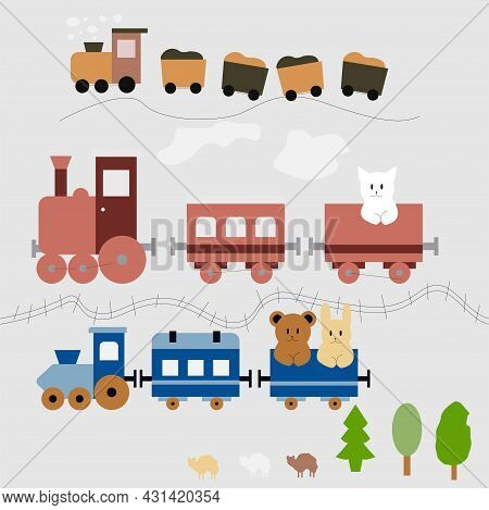 Set Of Illustrations Of Trains, 3 Trains In Pastel Colors For Children.