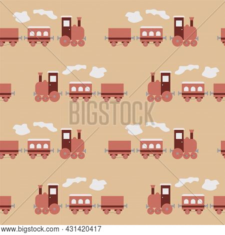 Shape Seamless Pattern With Cute Pink Steam Locomotives For Kids, Cute Prints With Train