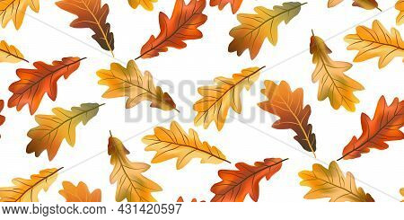 Seamless Pattern Bright Colorful Oak Autumn Foliage Isolated On White Background. Graphic Design Aut