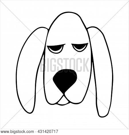 Vector Portrait Of A Basset Hound Dog In Doodle Cartoon Style. Pet Illustration In Line Art Style