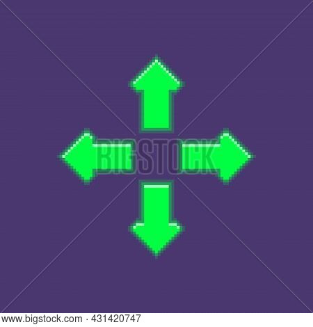 Colorful Simple Flat Pixel Art Illustration Of Four Luminous Arrows Pointing In Different Directions