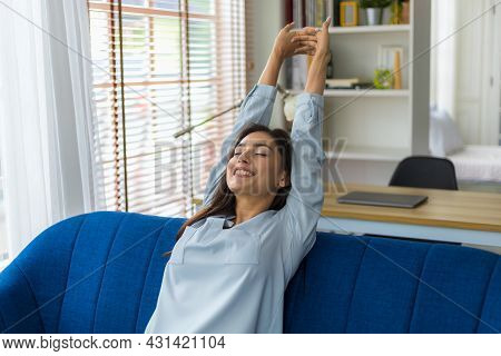 Cacusian Woman Take A Nap During The Daytime To Rest Their Eyes From Hard Work. Woman Relaxing On So