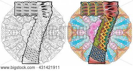 Hand-painted Art Design. Adult Anti-stress Coloring Page. Black And White Hand Drawn Illustration Ma