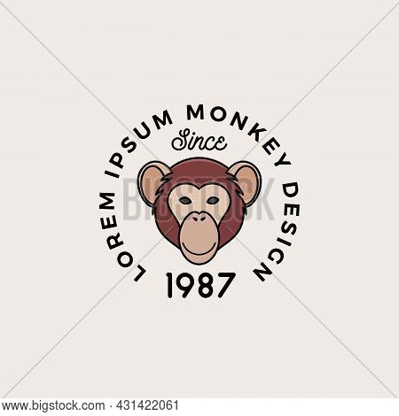 Line Style Monkey Or Ape Face With Retro Typography. Abstract Vector Sign, Symbol Or Logo Template.