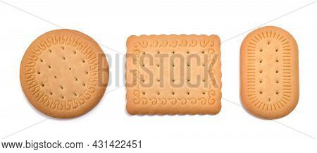 Dry Biscuits Isolated On A White Background