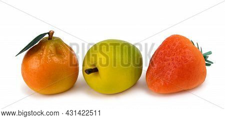 Set Of Isolated Marzipan Fruits  Isolated On White