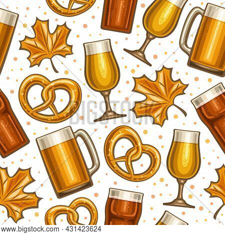 Vector Oktoberfest Seamless Pattern, Square Repeating Background For Oktoberfest Carnival, Poster Wi