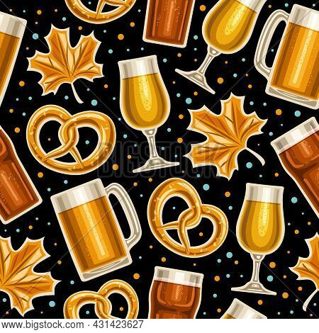 Vector Oktoberfest Seamless Pattern, Square Repeating Background For Oktoberfest Brewery, Poster Wit
