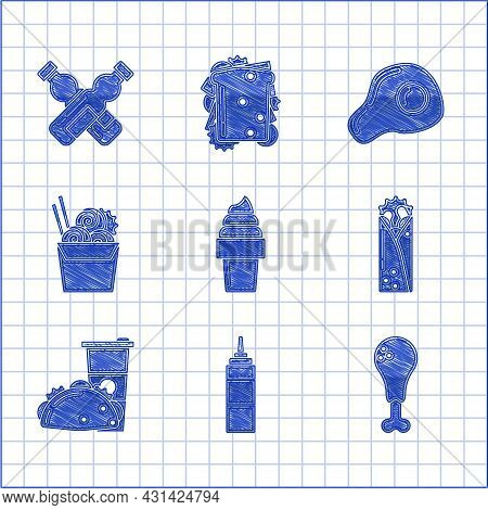Set Ice Cream In Waffle Cone, Sauce Bottle, Chicken Leg, Doner Kebab, Paper Glass And Taco With Tort