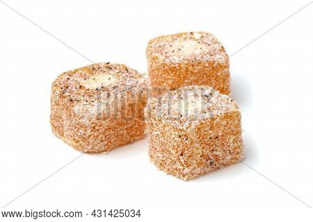 Traditional Oriental Sweets - Turkish Turkish Delight On A White Background.