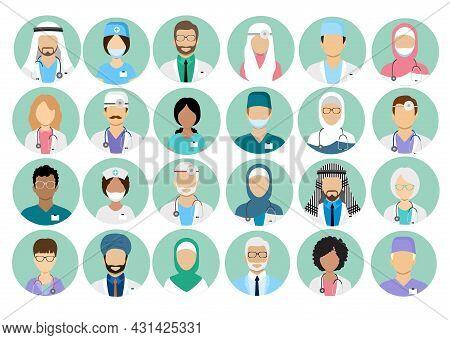 Artoon Multinational Medical Character Avatars Set. Circle Icon With Women Men Doctors Medical Unifo
