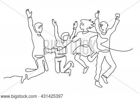 Continuous Line Drawing Of Happy People Team Jumping Joy. People Jumping One Line Continuous Line Dr