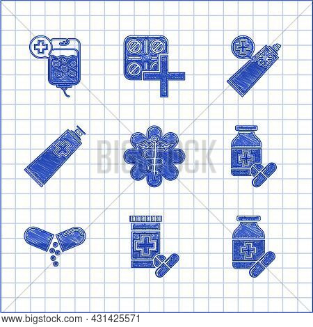 Set Emergency Star Medical Symbol Caduceus Snake With Stick, Medicine Bottle And Pills, Or Tablet, O