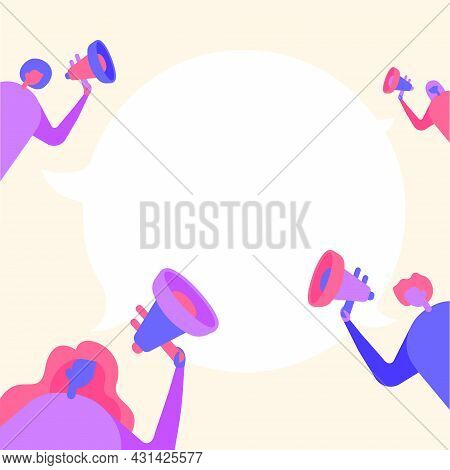 Group Of People Drawing Holding Their Megaphones Talking And Sharing Idea With Each Other To Chat Cl