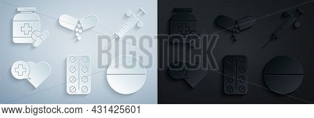 Set Pills In Blister Pack, Syringe, Heart With Cross, Medicine Pill Or Tablet, And Bottle And Pills