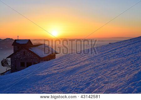 sundown at famous Rigi-Kulm Alp in Switzerland, Europe poster
