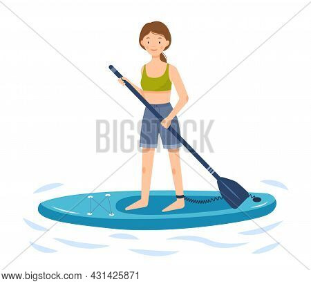 The Girl Is Riding A Sup Board. A Woman Stands On A Paddle Board And Holds A Paddle In Her Hands. Ve