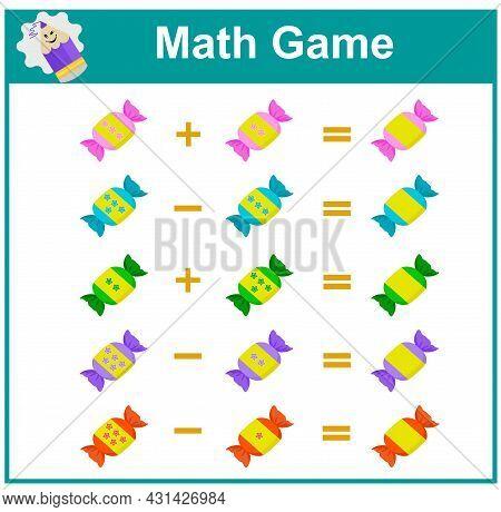 Mathematics Educational Game For Little Children.  Printable Worksheet For Kids Math School Textbook