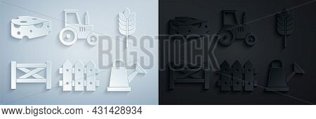 Set Garden Fence Wooden, Cereals With Rice, Wheat, Corn, Oats, Rye, Watering Can, Tractor And Cheese