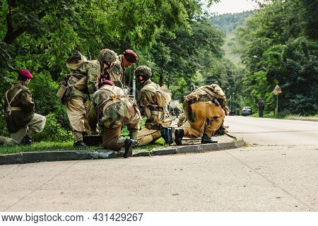 Porabka, Poland - August 07, 2021 : Reconstruction Of Battle From The Second World War. British Airb