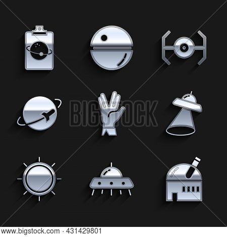Set Vulcan Salute, Ufo Flying Spaceship, Astronomical Observatory, Sun, Planet, Cosmic And Icon. Vec