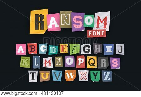 Paper Style Ransom Note Letter. Cut Letters. Clipping Alphabet. Vector Font