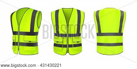 Safety Vest Front, Back View And Side. Yellow, Light Green Jacket With Reflective Stripes. Safety Ve