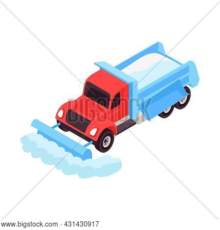 Isometric Snowplow Truck Removing Snow From Road 3d Vector Illustration