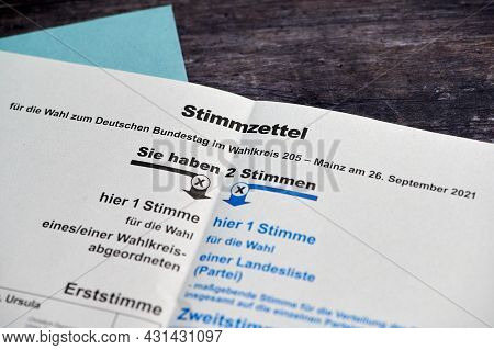 Mainz, Germany - August 30, 2021: Ballot Papers For Postal Voting. Voting For The German Federal Ele