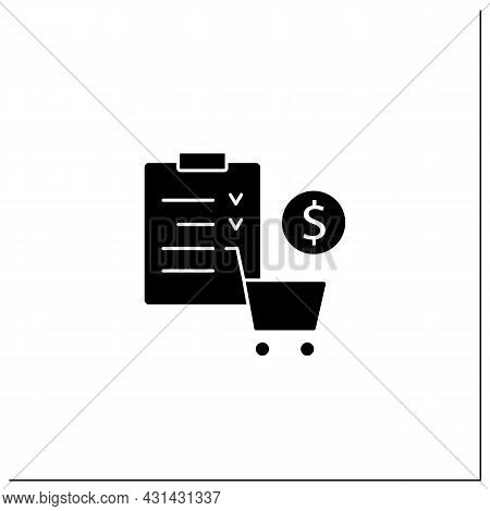 Merchandise Planning Glyph Icon. Shop List. Only Necessary Products. Save Money. Grocery Basket And