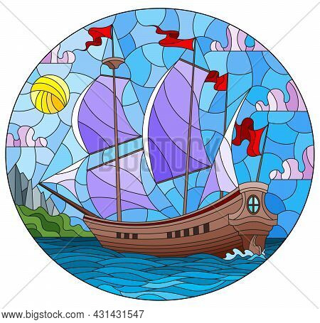 Illustration In Stained Glass Style With An Old Ship Sailing With Purple Sails Against The Sea And C