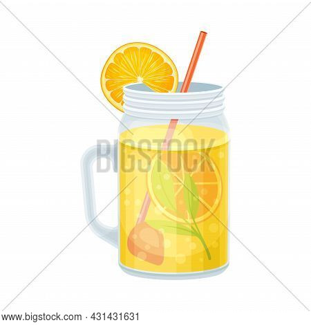 Bright Exotic Cocktail In Glass Jar With Straw As Tropical Refreshing Drink Vector Illustration