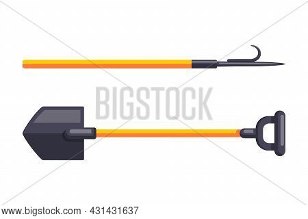 Cartoon Firefighter Tools With Shovel And Pike Pole Isolated Vector Illustration