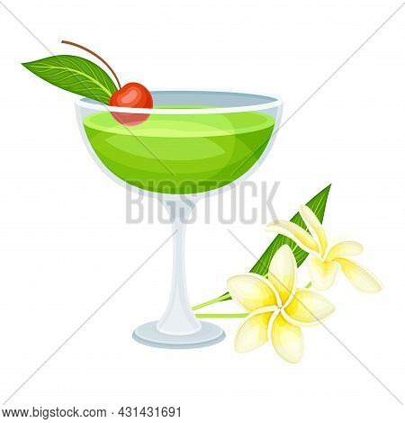 Bright Exotic Cocktail In Glass With Berry As Tropical Refreshing Drink Vector Illustration