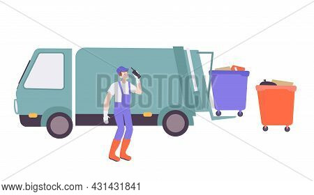Utility Service Flat Icon With Worker And Truck Collecting Garbage Vector Illustration
