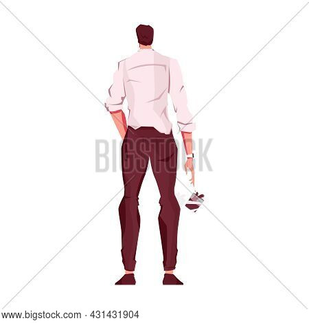 Flat Icon With Back View Of Shocked Of Depressed Man Dropping Glass With Drink Vector Illustration