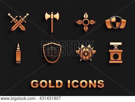 Set Target Sport, Shield, Handle Detonator For Dynamite, Medieval Shield With Crossed Axes, Bullet,
