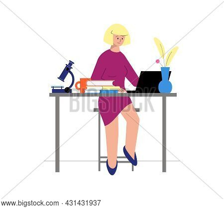 Tutoring Flat Icon With Female Character Having Online Science Lesson With Books And Microscope Vect