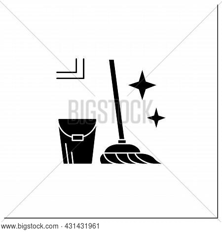 Mopping Glyph Icon. Bucket And Mop Sparkling With Tidiness. Concept Of Floor Cleaning, House Mainten
