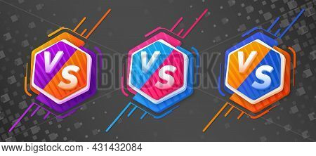 Versus Monograms On Divided Hexagon With Asymmetric Decorative Elements. Set Of Icons With Different