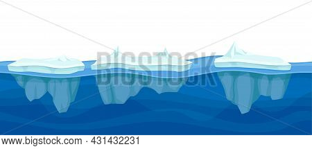 Blue Water Surface With Floating Ice Glacier Vector Illustration
