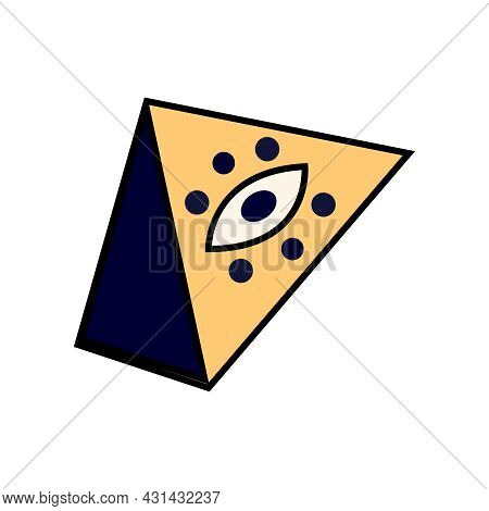 Doodle Colorful Icon With Eye Of Providence Symbol Vector Illustration