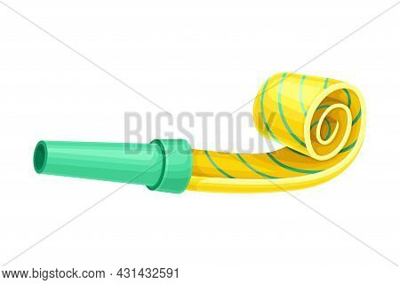 Yellow Party Whistle With Stripes As Birthday Toy And Accessory For Blowing And Making Sound Vector