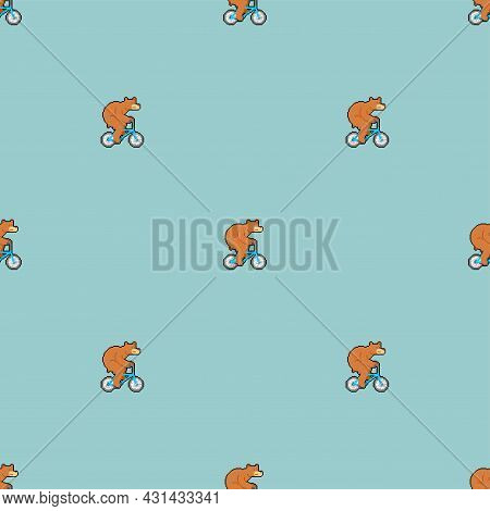 Bear On Bicycle Pixel Art Pattern Seamless. Pixelated Beast Is Riding Bicycle Background. 8 Bit Cart