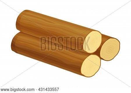 Log As Raw Timber Material For Woodworking Industry Vector Illustration