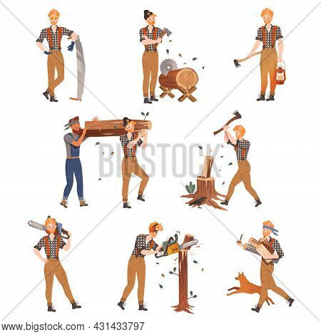 Redhead Bearded Woodman Or Lumberman In Checkered Shirt And Sling Pants With Felling Ax Chopping And