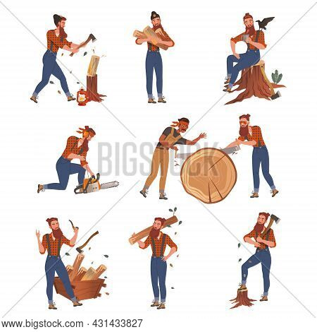 Bearded Woodman Or Lumberman In Red Checkered Shirt And Sling Pants With Felling Ax Chopping And Saw