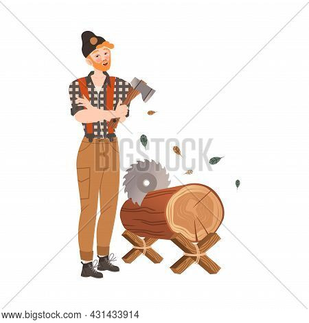 Redhead Bearded Woodman Or Lumberman In Checkered Shirt And Sling Pants Chopping With Ax And Sawing